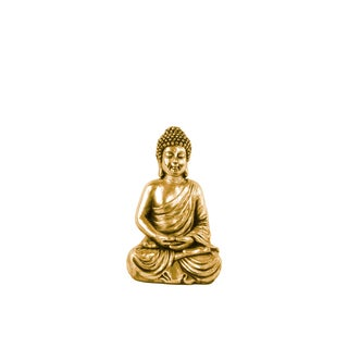 Antique Gold Resin Meditating Buddha Statue in Dhyana Mudra with Rounded Ushnisha Small