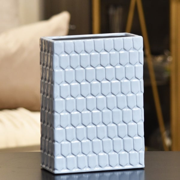 Utc12801 Ceramic Tall Rectangular Vase With Embossed Hexagonal