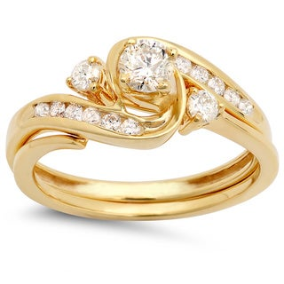 Elora 10k Yellow Gold 1/2ct TDW Round Diamond Swirl Bridal Set (I-J, I1-I2)