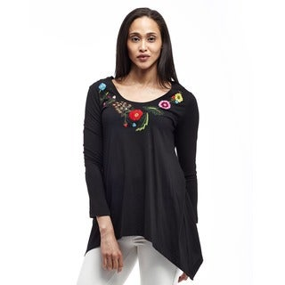 La Cera Women's Floral Embroidery V-Neck Top