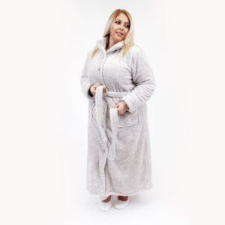 La Cera Women's Plus Sized Belted Cowl Neck Robe