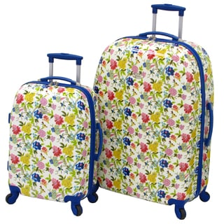 Waverly Trends Blue Floral 2-piece Hardside Spinner Luggage Set