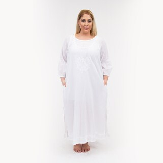 La Cera Women's Plus Size Embroidered Night Gown