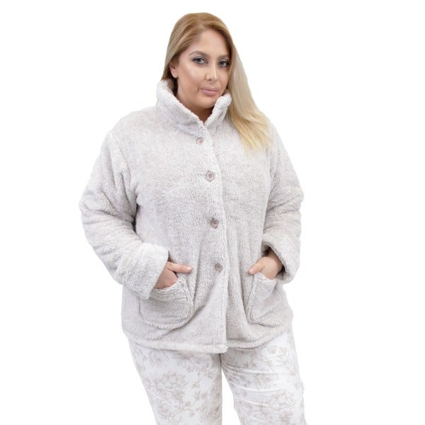 jacket fleece la collections sleepwear cera bed taupe cotton jackets tagged