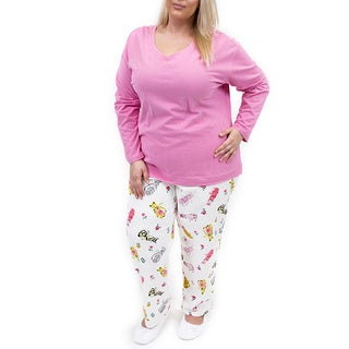 La Cera Women's Plus Size Cat Print Pant Pajama Set