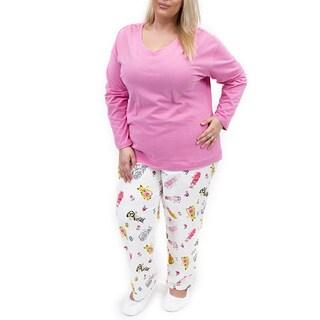 La Cera Women's Plus Size Cat Print Pant Pajama Set