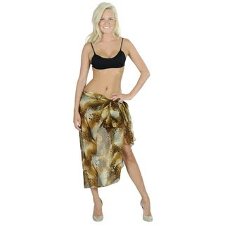 La Leela Sarong Lightweight Chiffon Hawaiian Skirt Dress Coverup 72X42 In Brown