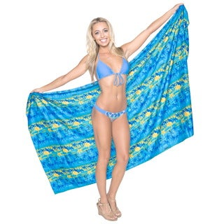 La Leela Soft Likre Palm Tree Beach Swimsuit Hawaiian Sarong 72X42 Inch Mustard