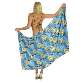 La Leela Soft Likre Dolphin Swim Pareo Wrap Plus Sarong Coverup 72X42 In Yellow
