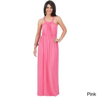 KOH KOH Women's Sundress Braided Strapless Maxi Dress