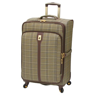 London Fog Westminster Camel Plaid 25-inch Expandable Spinner Upright Suitcase