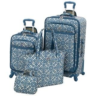 Waverly Boutique Aqua Lace It Up 4-piece Spinner Luggage Set