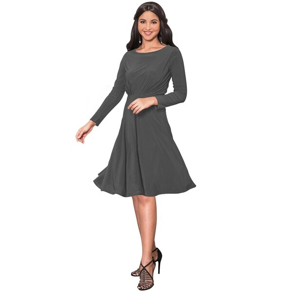 KOH KOH Women's Round Neck Long Sleeve Ruched Midi Dress