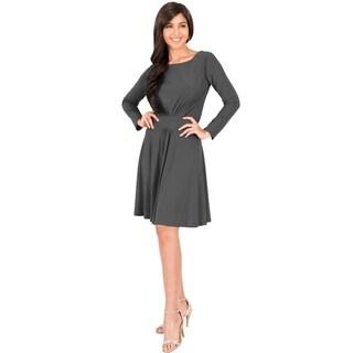 KOH KOH Women's Round Neck Long Sleeve Ruched Midi Dress (More options available)