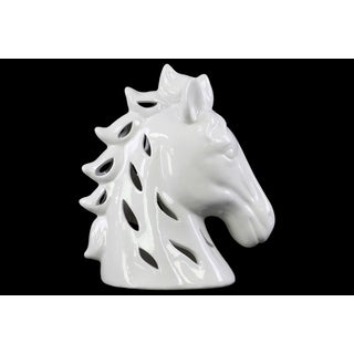 Ceramic Horse Head with Cutout Sides Gloss White