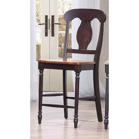 Iconic Furniture Napoleon Back Whiskey Mocha 24-inch Counter Stool