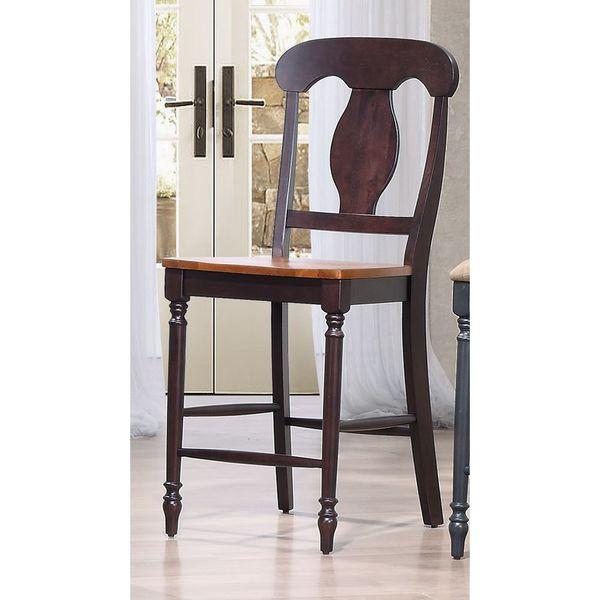 Iconic Furniture Napoleon Back Whiskey Mocha 24-inch Counter Stool