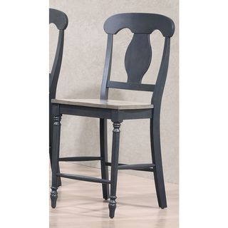 Iconic Furniture Napoleon Back Grey and Black 24-inch Counter Stool