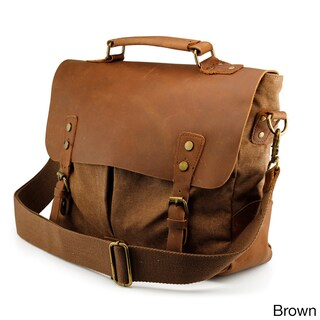 Gearonic Men's Vintage Satchel School Military Messenger Shoulder Bag (Option: Brown)