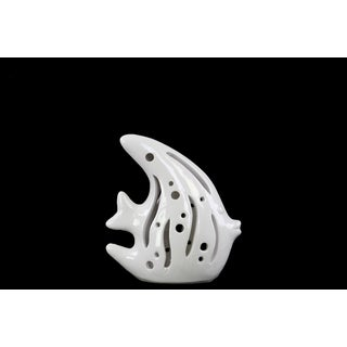 Ceramic Fish Figurine with Cutout Sides Gloss White