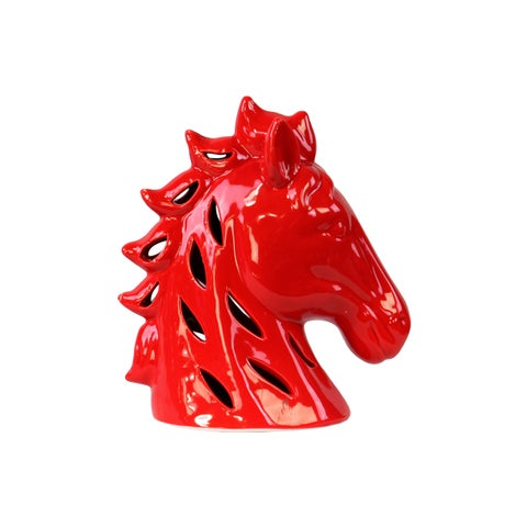 Ceramic Glossy Red Perforated Horse Head