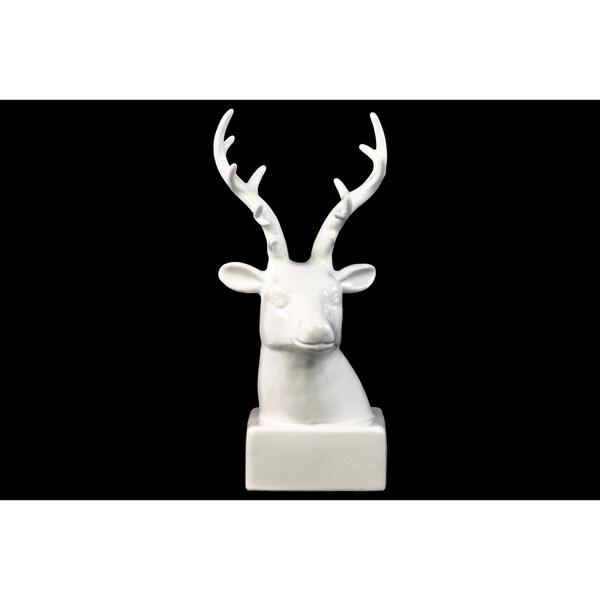 Glossy White Ceramic Deer Head On Base