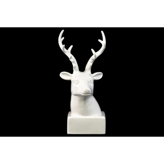 Glossy White Ceramic Deer Head on Base