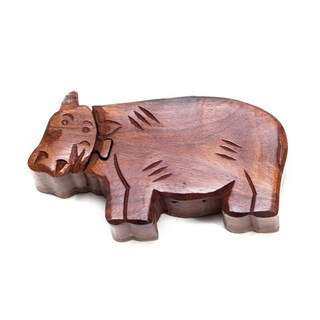 Handmade Happy Hippo Puzzle Box (India)