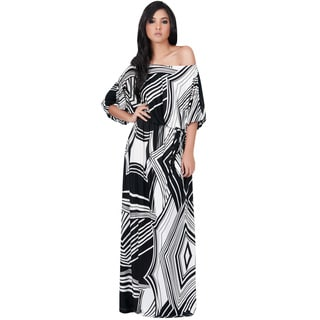 Koh Koh Women's One Shoulder 3/4 Sleeve Graphic Print Maxi Dress