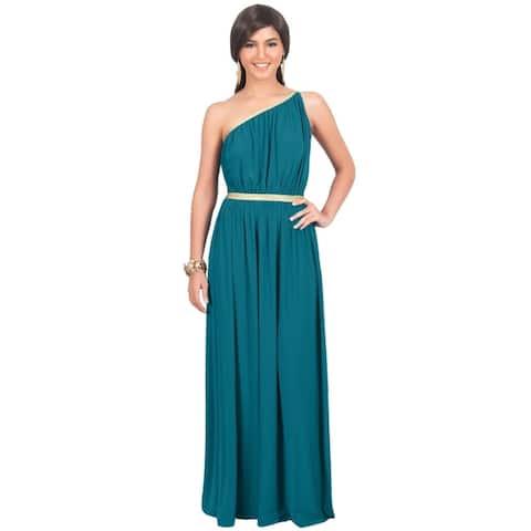 KOH KOH Women's One Shoulder Grecian Long Maxi Dress