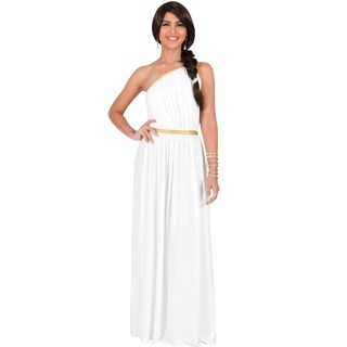 KOH KOH Women's One Shoulder Grecian Long Maxi Dress