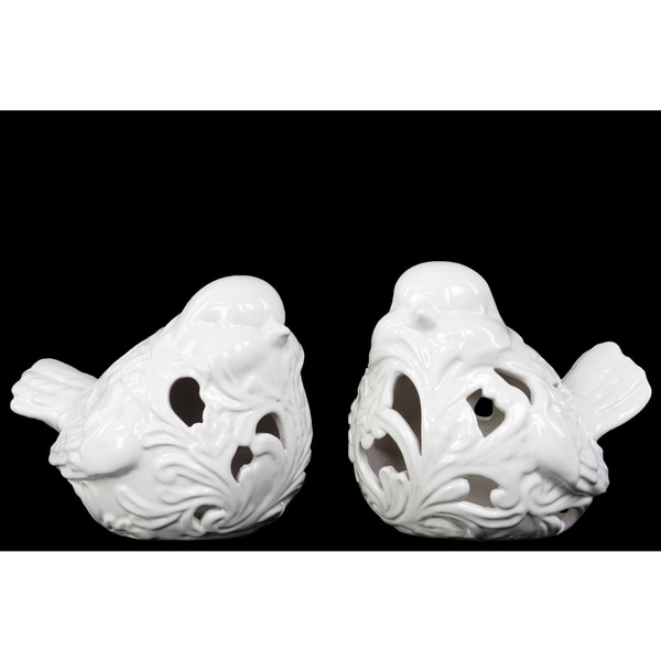 Ceramic Bird Figurine with Cutout Design Gloss White (Set of 2)