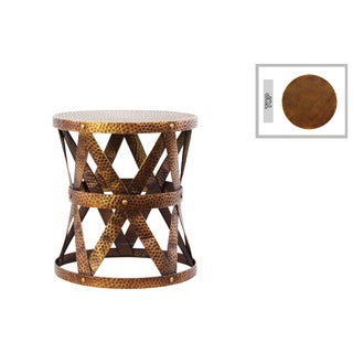 Metal Round Table/ Stool with Industrial Lattice Girder Design Sm Dimpled Antique Gold