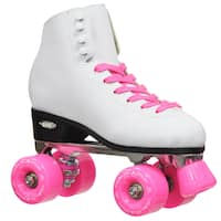Epic Classic Women's High-Top Quad Roller Skates White with Pink Wheels