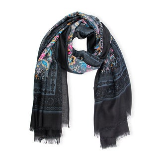 Handmade Saachi Women's Floral Printed Scarf with Solid Border (China)