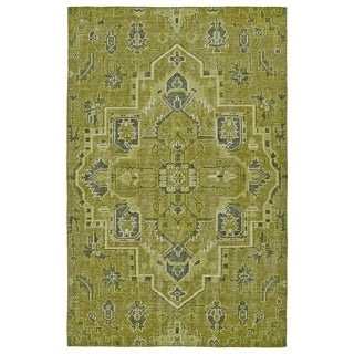 Hand-Knotted Vintage Avocado Heriz Rug (5'6 x 8'6)