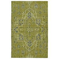 Hand-Knotted Vintage Avocado Heriz Rug - 5'6 x 8'6