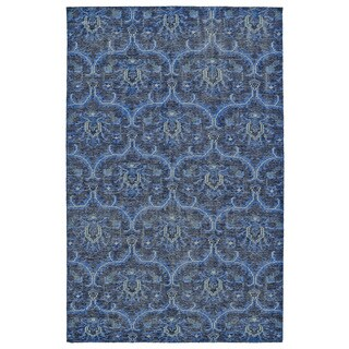 "Hand-Knotted Vintage Blue Ikat Rug (5'6"" x 8'6"")"