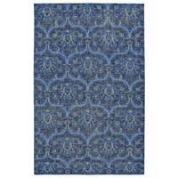 "Hand-Knotted Vintage Blue Ikat Rug (5'6"" x 8'6"")"