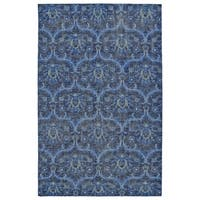 Hand-Knotted Vintage Blue Ikat Rug (2' x 3')