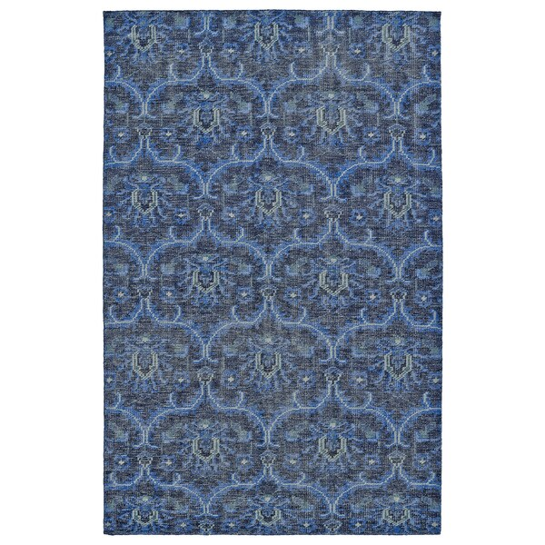 Hand-Knotted Vintage Blue Ikat Rug - 8' x 10'
