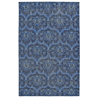 Hand-Knotted Vintage Blue Ikat Rug (9'0 x 12'0)