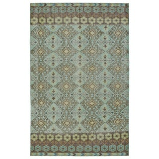 Hand-Knotted Vintage Turquoise Kilim Rug (5'6 x 8'6)
