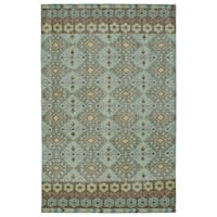 "Hand-Knotted Vintage Turquoise Kilim Rug - 5'6"" x 8'6"""