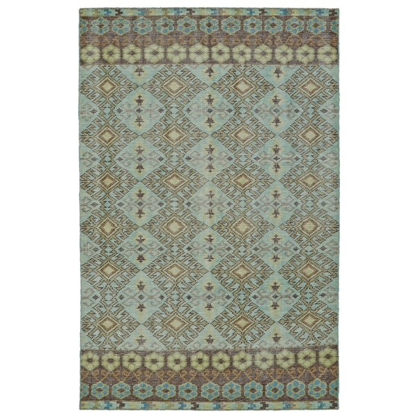 Hand-Knotted Vintage Turquoise Kilim Rug - 8' x 10'