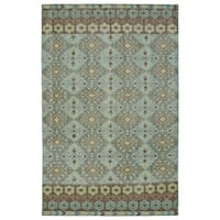 Hand-Knotted Vintage Turquoise Kilim Rug (8' x 10')
