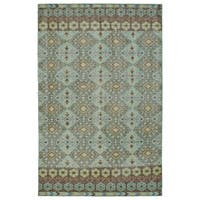 Hand-Knotted Vintage Turquoise Kilim Rug (8'0 x 10'0) - 8' x 10'