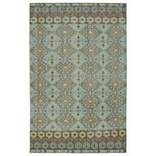 Hand-Knotted Vintage Turquoise Kilim Rug (9'0 x 12'0)