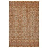 Hand-Knotted Vintage Orange Kilim Rug (5'6 x 8'6)