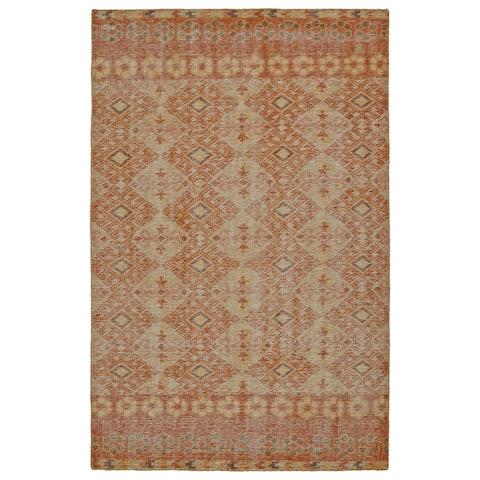 Hand-Knotted Vintage Orange Kilim Rug (8'0 x 10'0) - 8' x 10'
